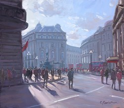 Piccadilly Circus, London  by Charles Rowbotham -  sized 12x10 inches. Available from Whitewall Galleries